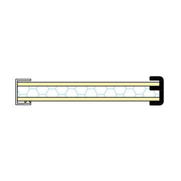 Cielino a scorrere in fibrocemento + XPS sp. 25 mm compreso di cornice frontale in PVC bianco, guide cielino e profilo di battuta