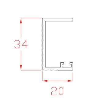 Profilo di battuta in PVC bianco per cielino a scorrere in fibrocemento + XPS  sp. 25 mm