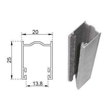 Guide in alluminio estruso a misura 25×20 mm