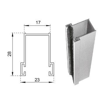 Guide in alluminio estruso a misura 28×17 mm