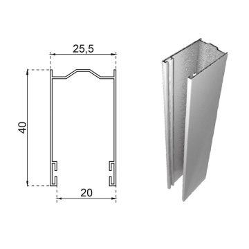 Guide in alluminio estruso a misura 40×25,5 mm