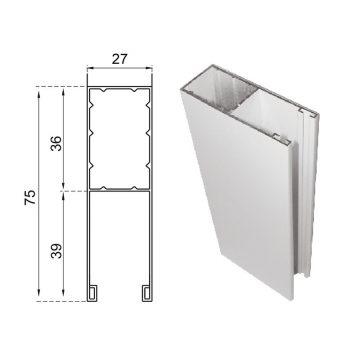 Guide in alluminio estruso a misura 75×27 mm