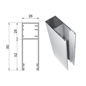 Guide in alluminio estruso a misura 80×28 mm