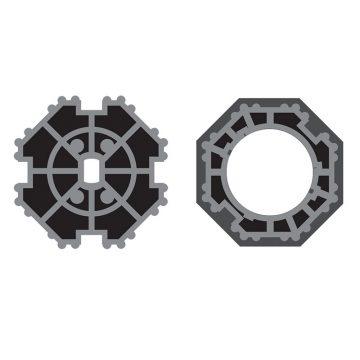 Corona e adattatore per rullo Ø 70 per tapparella per motore Ø 45